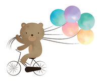 Miś jedzie rower z balonami Fotografia Royalty Free