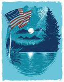 Independence Day Fireworks at the Lake Poster stock illustration