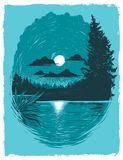 Poster Graphic of a Lake at Night stock illustration