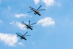 3 Mi-35 large helicopters gunship Stock Image