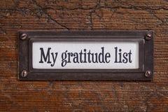 Mi lista de la gratitud - etiqueta del gabinete de fichero imagen de archivo
