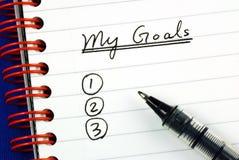 Mi lista de las metas Foto de archivo