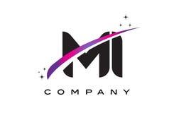 MI M I Black Letter Logo Design com Swoosh magenta roxo Fotos de Stock Royalty Free