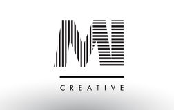 MI M I Black and White Lines Letter Logo Design. Royalty Free Stock Photography