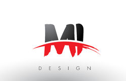 MI M I Brush Logo Letters with Red and Black Swoosh Brush Front Stock Images