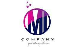 MI M I Circle Letter Logo Design avec Dots Bubbles pourpre Image libre de droits