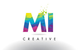 MI M I Colorful Letter Origami Triangles Design Vector. Royalty Free Stock Image