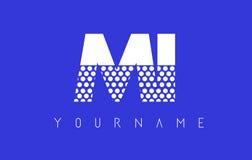 MI M I Dotted Letter Logo Design com fundo azul Fotografia de Stock