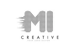 MI M I Letter Logo with Black Dots and Trails. Stock Photos