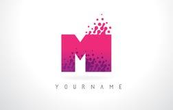 MI M I Letter Logo com cor e partículas roxas cor-de-rosa Dots Des Fotografia de Stock