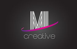 MI M I Letter Logo com linhas projeto e Swoosh roxo Imagens de Stock Royalty Free