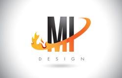 MI M I Letter Logo com projeto das chamas do fogo e Swoosh alaranjado Fotografia de Stock