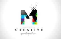 MI M I Letter Logo com vetor colorido do projeto da textura dos triângulos Fotos de Stock Royalty Free
