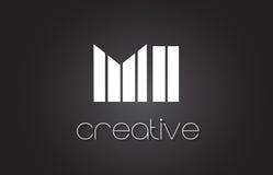 MI M I Letter Logo Design With White e linhas pretas Fotos de Stock