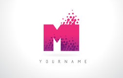 MI M I Letter Logo with Pink Purple Color and Particles Dots Des Stock Photography