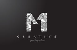 MI M I Letter Logo with Zebra Lines Texture Design Vector. Royalty Free Stock Images