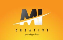 MI M I Letter Modern Logo Design com fundo amarelo e Swoo Imagem de Stock Royalty Free