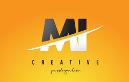 MI M I Letter Modern Logo Design with Yellow Background and Swoo Royalty Free Stock Image