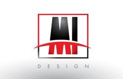 MI M I Logo Letters avec des couleurs et le bruissement rouges et noirs Photographie stock