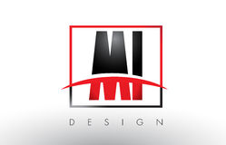 MI M I Logo Letters with Red and Black Colors and Swoosh. Stock Photography