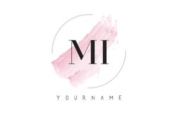 MI M I Watercolor Letter Logo Design with Circular Brush Pattern Royalty Free Stock Photo