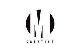 MI M I White Letter Logo Design com fundo do círculo Foto de Stock Royalty Free