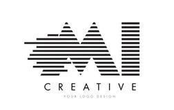 MI M I Zebra Letter Logo Design com listras preto e branco Fotos de Stock Royalty Free