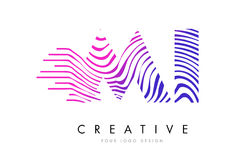 MI M I Zebra Lines Letter Logo Design avec des couleurs magenta Photographie stock
