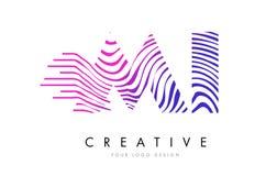 MI M I Zebra Lines Letter Logo Design com cores magentas Fotografia de Stock