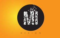 MI M mim Logo Made de letras pequenas com círculo preto e o B amarelo Fotos de Stock