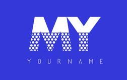 MI M Y Dotted Letter Logo Design con el fondo azul Imagen de archivo