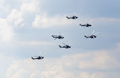 Mi-28N helicopters from Berkuty display team Royalty Free Stock Image