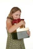 Mi niño de la muchacha de los presentes Fotografía de archivo libre de regalías