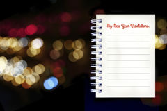 Mi nota de la resolución del Año Nuevo sobre fondo del bokeh Imágenes de archivo libres de regalías