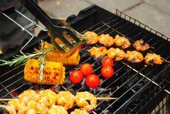 Mięso piec na grillu garnela Zdjęcie Stock