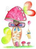 Miś pluszowy z balonem odwiedza fantazi pieczarki dom Fotografia Royalty Free