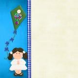 Mi primera muchacha de la tarjeta de la invitación de la comunión santa Imágenes de archivo libres de regalías