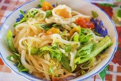 (Mi Quang) noedel met vlees, groente, vissen, kip en kruiden Royalty-vrije Stock Afbeelding