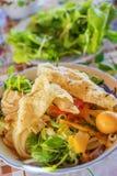 (MI Quang) Nudel mit Fleisch, Gemüse, Fischen, Huhn und Gewürzen Lizenzfreies Stockbild