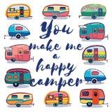 Mi rendete una carta del campeggiatore felice Fotografia Stock Libera da Diritti