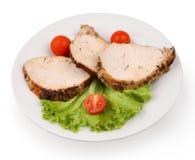 mięsa talerza pokrojony biel Fotografia Royalty Free