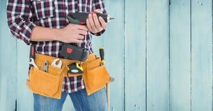 Mi section de bricoleur avec la ceinture d'outil et la machine de foret Illustration Stock