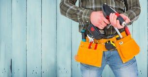 Mi section de bricoleur avec la ceinture d'outil et la machine de foret Illustration Libre de Droits