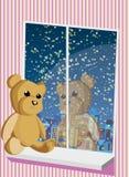 Miś siedzi na okno ilustracji