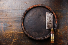 Mięsnego cleaver i kamienia blok Fotografia Stock