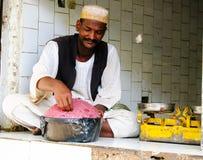 Mięsny sprzedawca przy rynkiem w Khartoum, Sudan Fotografia Royalty Free