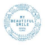 Mi sonrisa hermosa El logotipo o el emblema redondo moderno de la clínica dental Iconos de la enfermedad y del tratamiento de los Imagenes de archivo