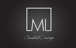MI Square Frame Letter Logo Design with Black and White Colors. Royalty Free Stock Images