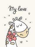 Mi tarjeta del amor con la jirafa y la flor lindas Tarjeta plana del ejemplo del vector animal de la historieta ilustración del vector