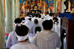 Ceremonia religiosa en un templo del Cao Dai, Vietnam Imágenes de archivo libres de regalías